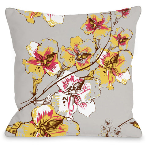 """Abstract Flowers"" Indoor Throw Pillow by OneBellaCasa, Grey, 16""x16"""