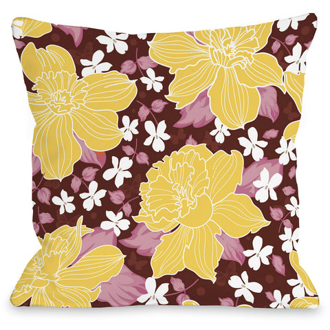 """Exotic Flowers"" Outdoor Throw Pillow by OneBellaCasa, Blue, 16""x16"""