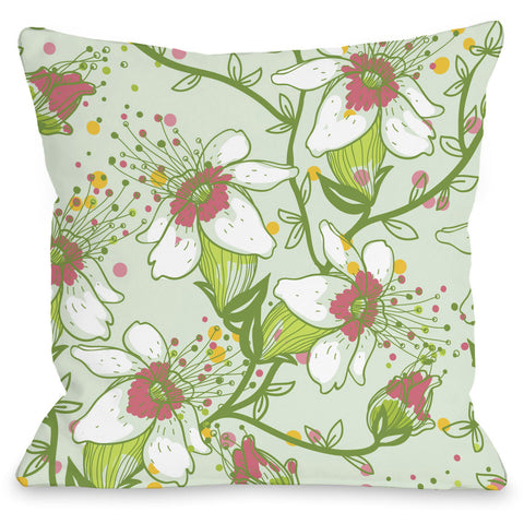 """Lovelilies"" Outdoor Throw Pillow by OneBellaCasa, Blue, 16""x16"""
