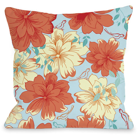 """Windswept Flowers"" Outdoor Throw Pillow by OneBellaCasa, Blue, 16""x16"""