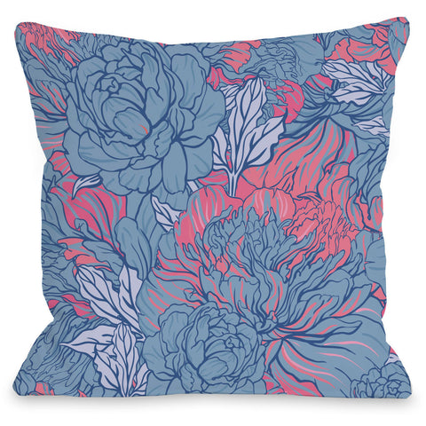 """Abundant Florals"" Outdoor Throw Pillow by OneBellaCasa, Blue/Pink, 16""x16"""