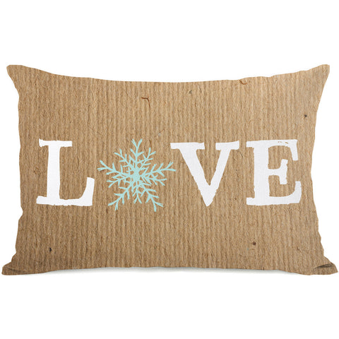"""Love Snowflake Paper"" Indoor Throw Pillow by OneBellaCasa, 14""x20"""