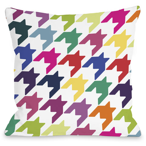 """Haley Houndstooth"" Outdoor Throw Pillow by OneBellaCasa, 16""x16"""