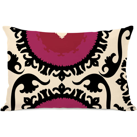 """Suzi"" Outdoor Throw Pillow by OneBellaCasa, Black Red, 14""x20"""