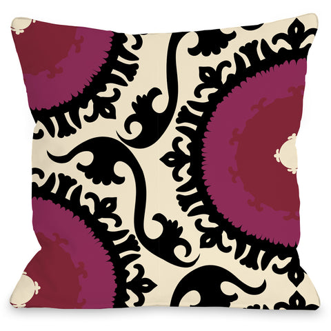 """Suzi"" Outdoor Throw Pillow by OneBellaCasa, Black Red, 16""x16"""