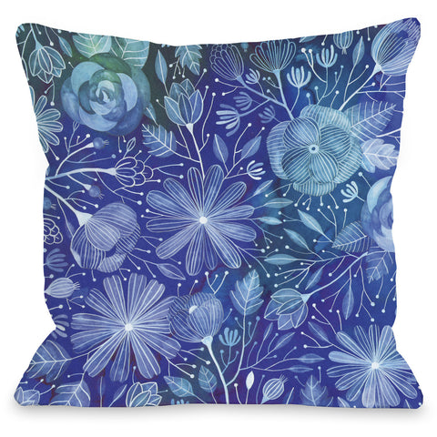 """Electric Flowers"" Indoor Throw Pillow by Ana Victoria Calderon, 16""x16"""