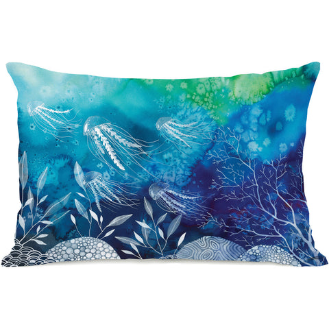 """Sea Life Watercolor"" Outdoor Throw Pillow by Ana Victoria Calderon, 14""x20"""