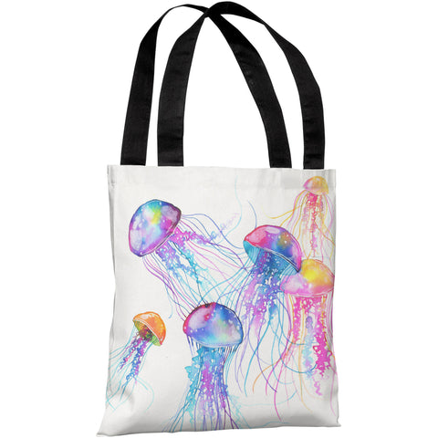 """Jellyfish"" 18""x18"" Tote Bag by Ana Victoria Calderon"