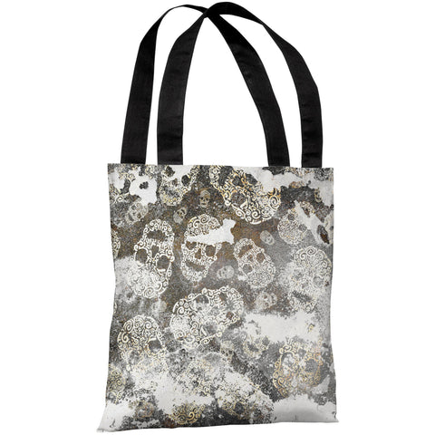 """Stamped Skulls"" 18""x18"" Tote Bag by OneBellaCasa"