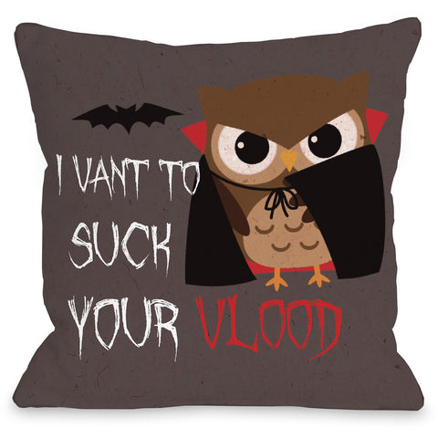 """Vlood Sucking Owl"" Indoor Throw Pillow by OneBellaCasa, 16""x16"""