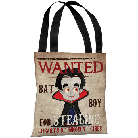 """Wanted Bat Boy"" 18""x18"" Tote Bag by OneBellaCasa"