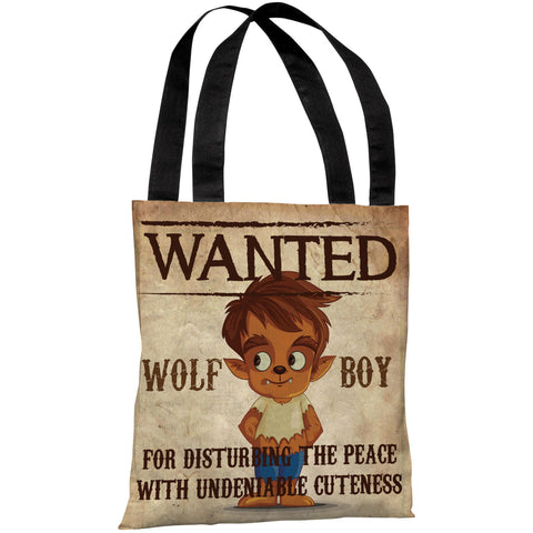 """Wanted Wolf Boy"" 18""x18"" Tote Bag by OneBellaCasa"