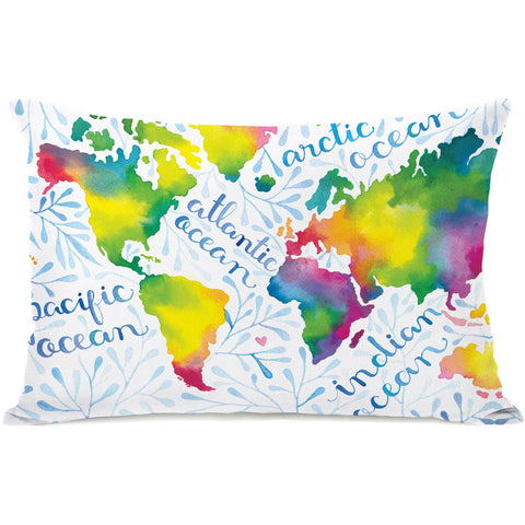 """Oceanography' Outdoor Throw Pillow by Ana Victoria Calderon, 14""x20"""