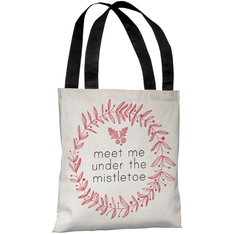 """Meet Me Under The Mistletoe"" 18""x18"" Tote Bag by OneBellaCasa"