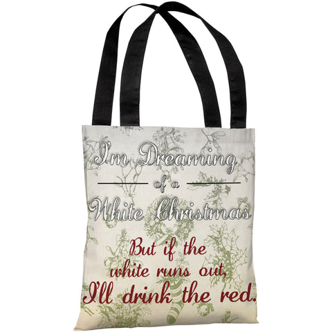 """White Christmas Red Wine"" 18""x18"" Tote Bag by OneBellaCasa"