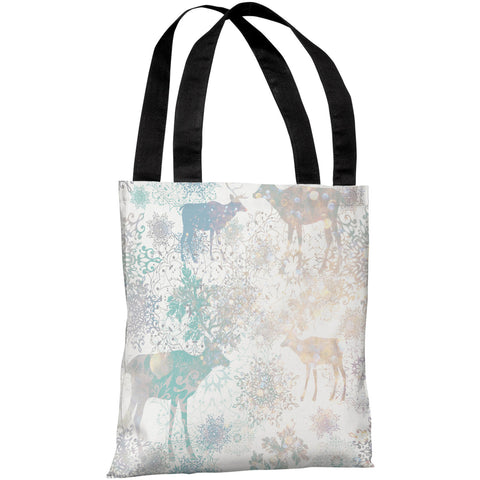 """Glittered Reindeer"" 18""x18"" Tote Bag by OneBellaCasa"