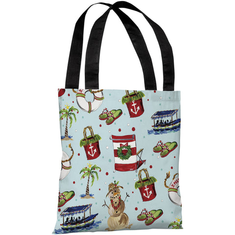 """Beach Christmas Pattern"" 18""x18"" Tote Bag by Timree Gold"