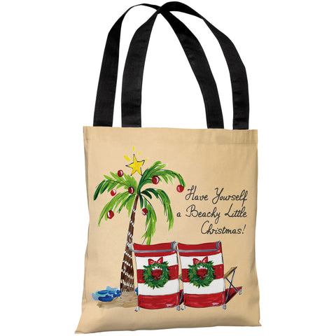 """Beachy Little Christmas"" 18""x18"" Tote Bag by Timree Gold"