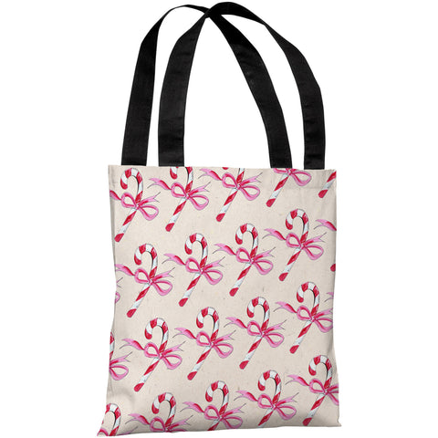 """Candy Cane Bows"" 18""x18"" Tote Bag by Timree Gold"