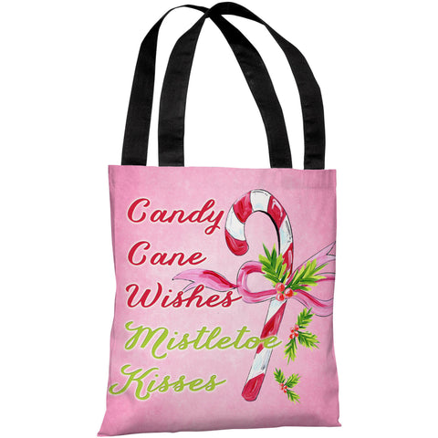 """Candy Cane Wishes - Mistletoe Kisses"" 18""x18"" Tote Bag by Timree Gold"