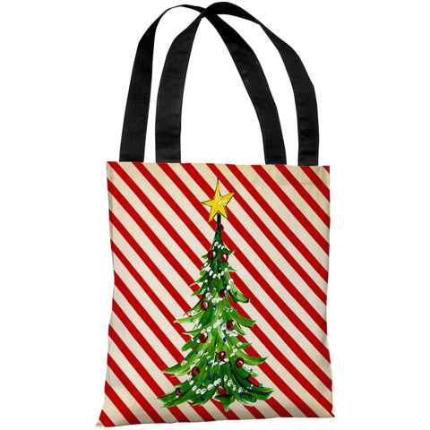 """Christmas Tree Stripes"" 18""x18"" Tote Bag by Timree Gold"