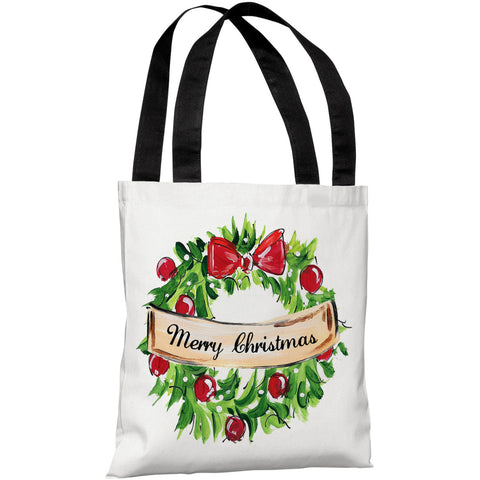 """Merry Christmas Wreath"" 18""x18"" Tote Bag by Timree Gold"