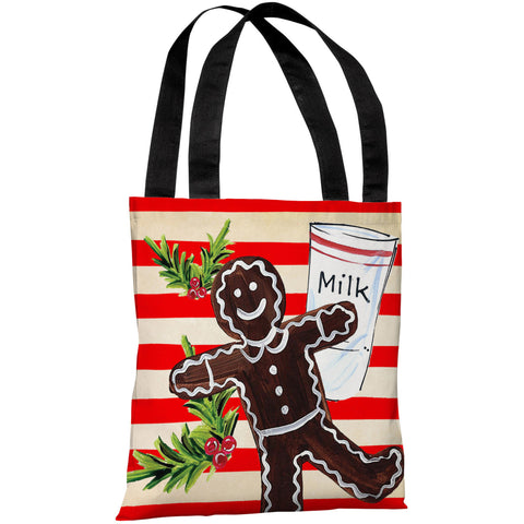 """Gingerbread Cookie & Milk"" 18""x18"" Tote Bag by Timree Gold"