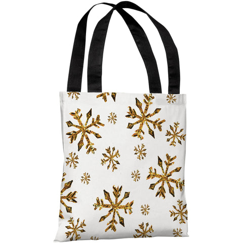 """Golden Snowflake Pattern"" 18""x18"" Tote Bag by Timree Gold"