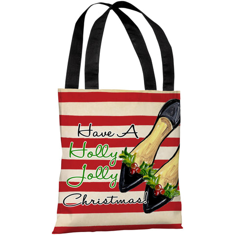 """Have A Holly Jolly Christmas!"" 18""x18"" Tote Bag by Timree Gold"
