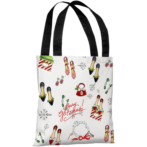 """Merry Glitzmas Pattern"" 18""x18"" Tote Bag by Timree Gold"