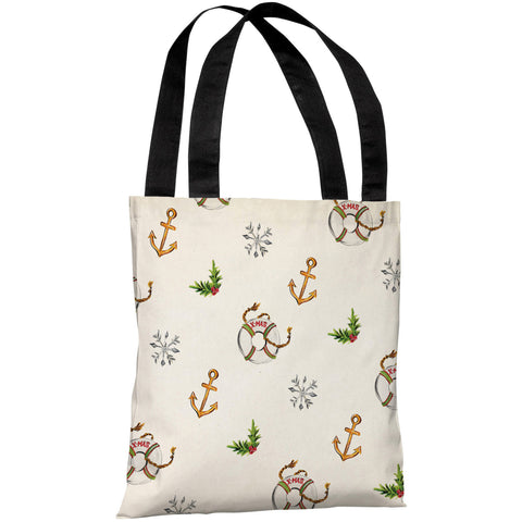 """Nautical Xmas Pattern"" 18""x18"" Tote Bag by Timree Gold"