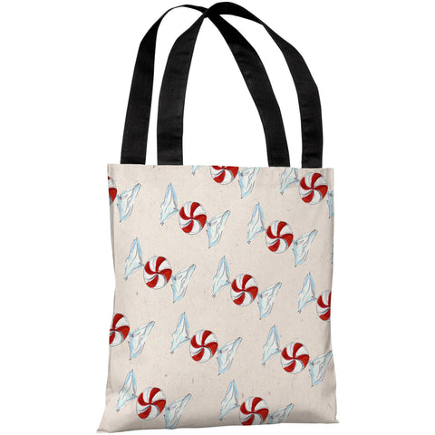 """Peppermint Swirls - Multi"" 18""x18"" Tote Bag by Timree Gold"