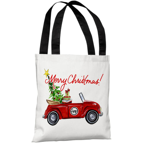 """Red Bug Christmas"" 18""x18"" Tote Bag by Timree Gold"