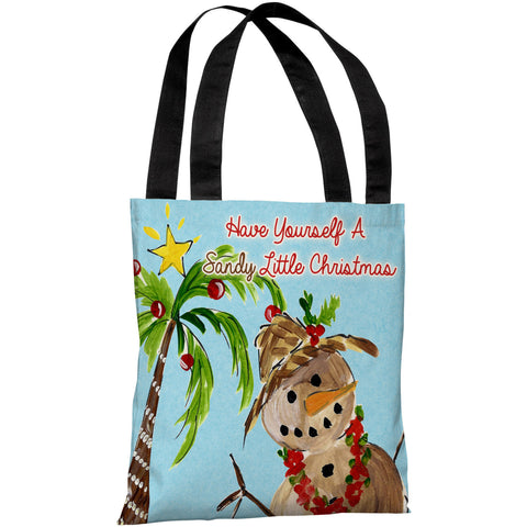 """Sandy Little Christmas"" 18""x18"" Tote Bag by Timree Gold"