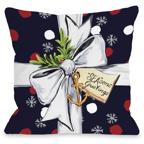 """Season's Greetings Gift"" Indoor Throw Pillow by Timree Gold, 16""x16"""