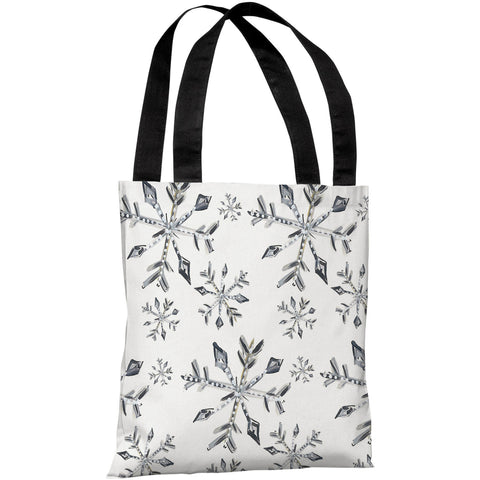 """Silver Snowflake Pattern"" 18""x18"" Tote Bag by Timree Gold"