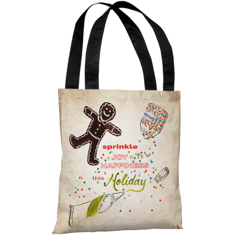 """Sprinkle Joy & Happiness"" 18""x18"" Tote Bag by Timree Gold"