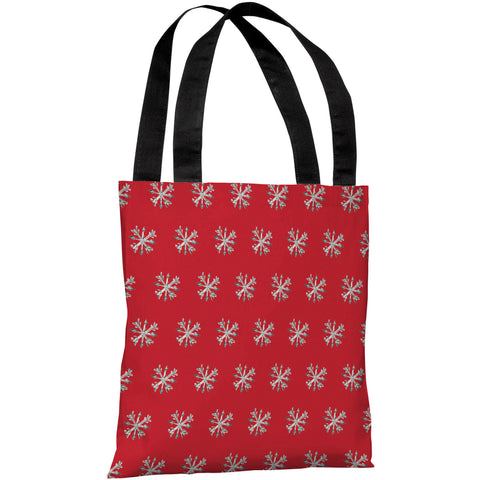 """Starry Eyed Snowflakes"" 18""x18"" Tote Bag by Timree Gold"