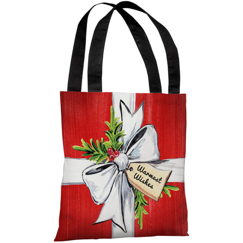 """Warmest Wishes"" 18""x18"" Tote Bag by Timree Gold"