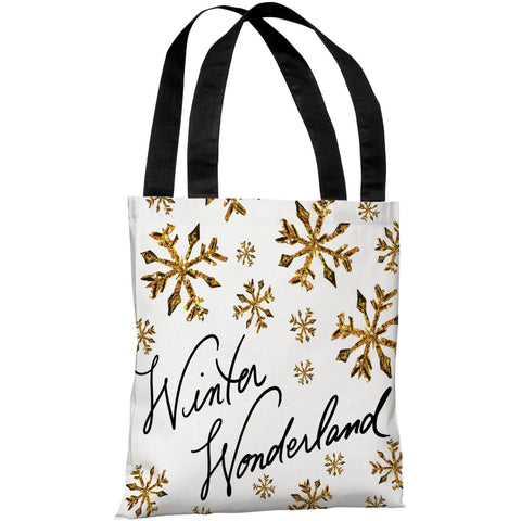 """Winter Wonderland Gold Snowflakes"" 18""x18"" Tote Bag by Timree Gold"