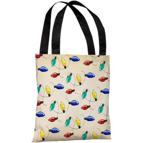 """Christmas Lights"" 18""x18"" Tote Bag by Timree Gold"