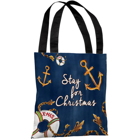 """Stay for Christmas Nautical"" 18""x18"" Tote Bag by Timree Gold"