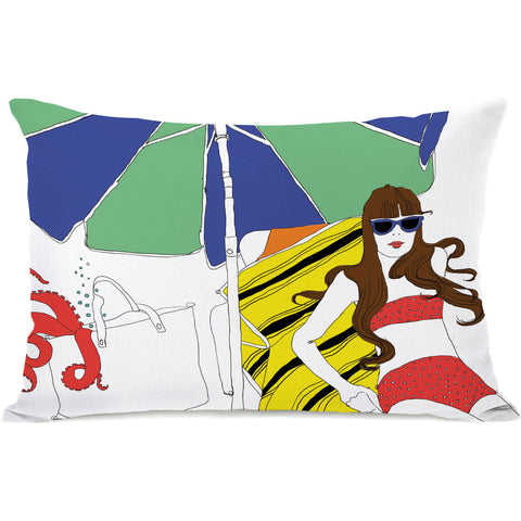 """Beach Babe"" Outdoor Throw Pillow by Judit Garcia Talvera, 14""x20"""