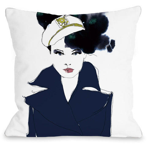 """Navy Blue Sailor"" Outdoor Throw Pillow by Judit Garcia Talvera, 16""x16"""