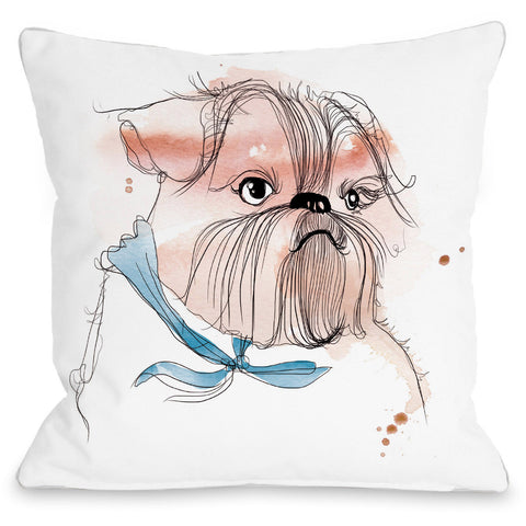 """Terrier Puppy Sketch"" Outdoor Throw Pillow by Judit Garcia Talvera, 16""x16"""