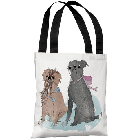 """Two Puppies"" 18""x18"" Tote Bag by Judit Garcia Talvera"