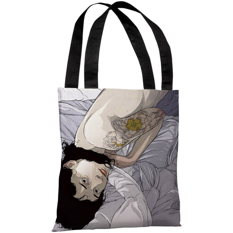 """Girl in Bed"" 18""x18"" Tote Bag by Matthew Woodson"