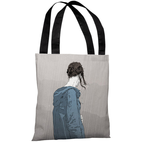 """Girl in Rain"" 18""x18"" Tote Bag by Matthew Woodson"