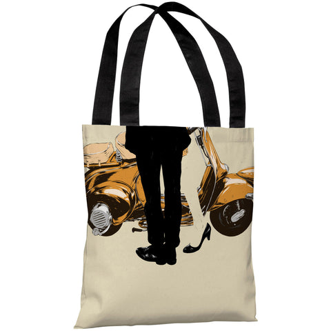 """Couple And A Motorcycle"" 18""x18"" Tote Bag by Matthew Woodson"