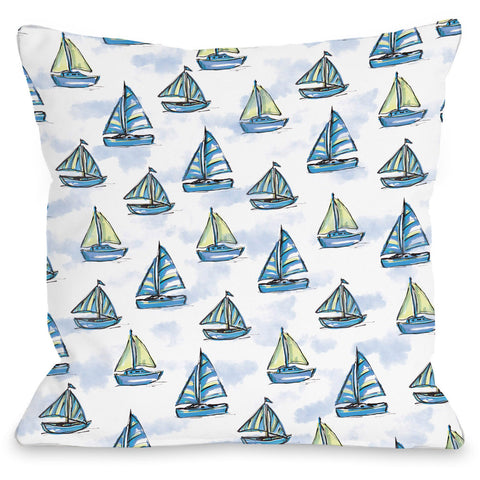 """Boats"" Outdoor Throw Pillow by Jeanetta Gonzales, 16""x16"""